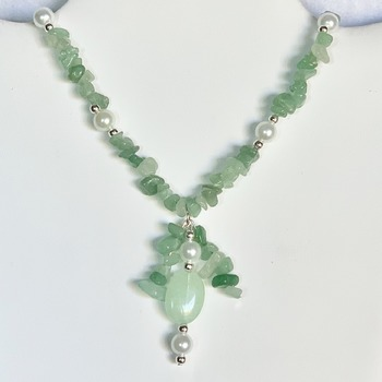 Amazonite Chip and White Pearl Y Necklace