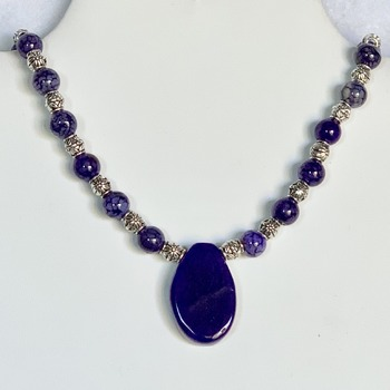 Amethyst Bead and Antique Silver Bead Necklace with Purple Agate Pendant