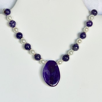 Amethyst Bead and White Pearl Necklace with Purple Agate Pendant