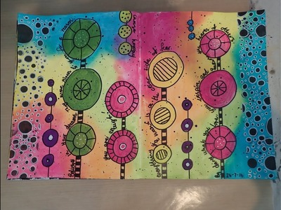 Art journal process page - Bright abstract flowers (Mixed Media)