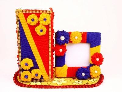 Best use of waste medicine box and Wool - Home decor easy craft idea - DIY photo frame & flower vase
