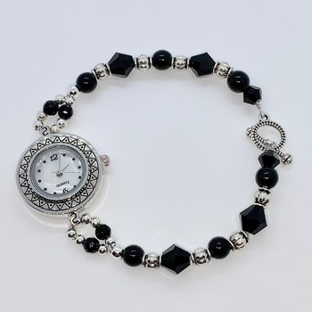 Black Bicone Bead and Antique Silver Bead Watch