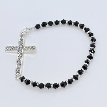 Black Faceted Bead and Silver Crystal Cross Bracelet