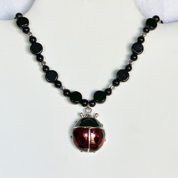 Black Jasper and Silver Bead Necklace with Ladybug Pendant