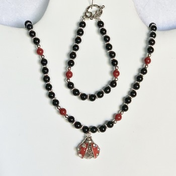 Black Jasper Bead and Red Bead Necklace with Ladybug Pendant and Bracelet Set