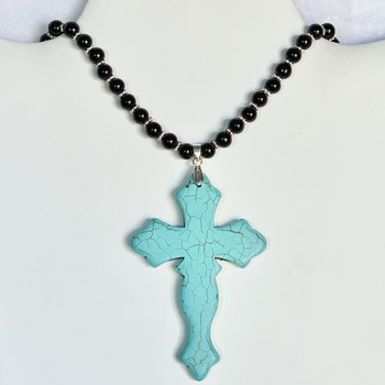 Black Jasper Bead Necklace with Turquoise Cross Pendant