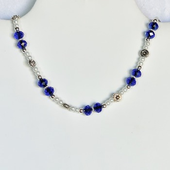 Blue Faceted Bead and White Pearl Necklace