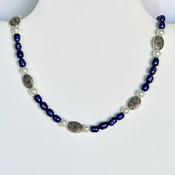 Blue Freshwater Pearl, White Pearl and Antique Silver Bead Necklace