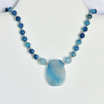 Blue Striped Agate Bead Necklace with Blue Stone Pendant