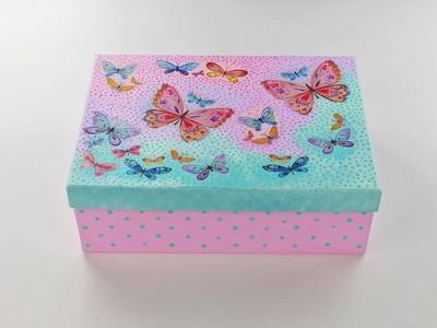 Decoupage paper mache box - Storage box ideas - Decoupage tutorial - DIY - Do It Yourself