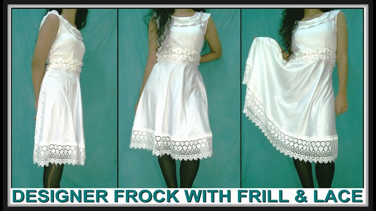 Designer Frock With Frill And Lace Cutting And Stitching | DIY - Tailoring With Usha