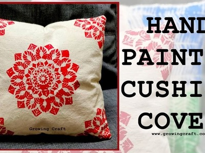 DIY l Hand painted cover l Canvas cushion cover making l hand painted cover designs l growing craft