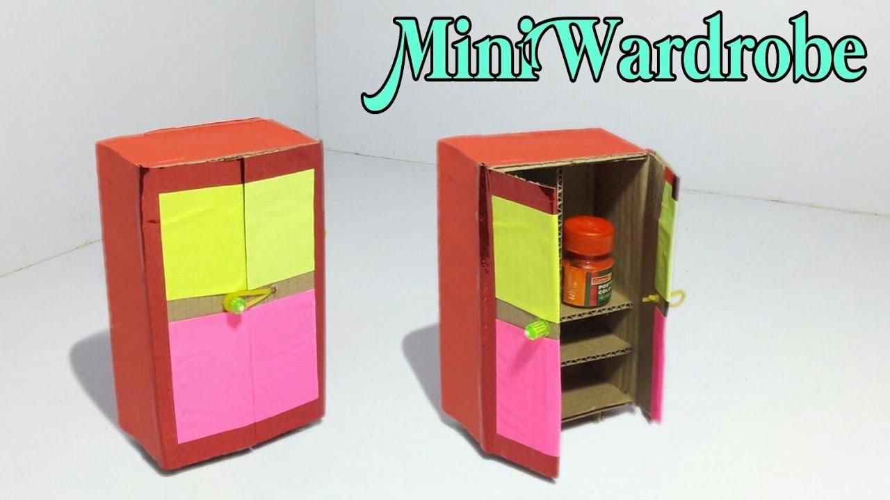 DIY - Mini Wardrobe Making Tutorial | Make Wardrobe With Cardboard | Dollhouse Furniture Making