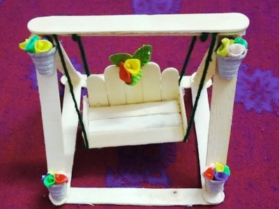 DIY Miniature Jhula | How To Make Popsicle Stick Swing | Easy Icecream Stick Crafts |