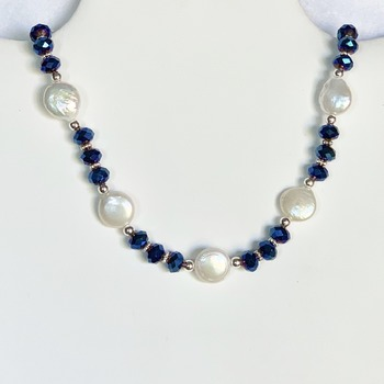 Freshwater Pearl Button and Blue Faceted Bead Necklace
