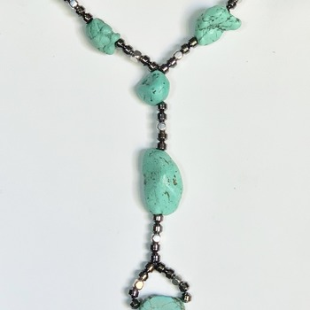 Green Turquoise Nugget and Hematite Cube Y Necklace