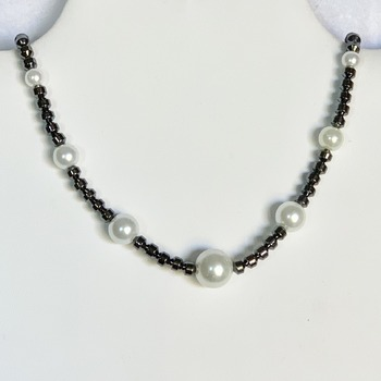 Hematite Bead and White Pearl Necklace