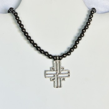 Hematite Bead Necklace with Burnished Pewter Cross Pendant (Mens)