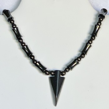 Hematite Bead Necklace with Hematite Arrowhead Pendant (Mens)