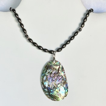 Hematite Bead Necklace with Abalone Shell Pendant