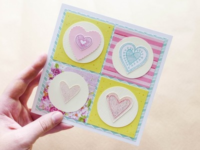 How to make : Simple Greeting Card with Hearts | Kartka z Sercami - Mishellka #307 DIY