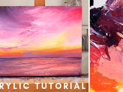 How to Paint in Acrylics | Sunset Painting Tutorial