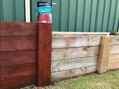 How to stain timber retaining wall - DIY tutorial