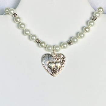 Ivory Pearl and Antique Silver Hear Necklace with Heart Pendant
