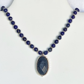 Lapis Bead Necklace with  Blue Jasper Pendant