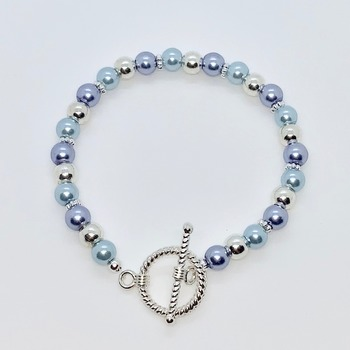 Light Blue Pearl, Lavender Pearl and Silver Bead Bracelet