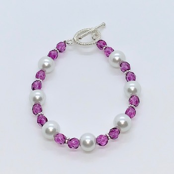 Magenta Czech Bead and White Pearl Bracelet