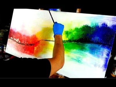 Magical rainbow forest abstract painting - fan brush, round brush, and spatula painting techniques