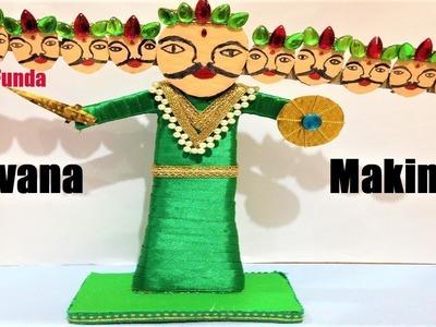 Making ravana for dussehra at home with cardboard   craft ideas   DIY   Dussehra Special   face mask
