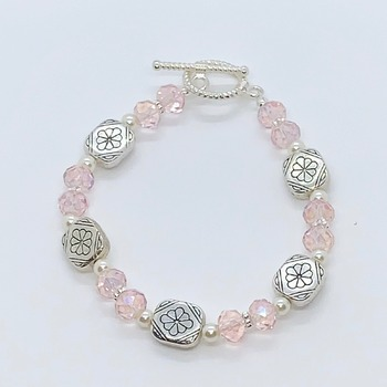 Pink Czech Bead and Antique Silver Bead Bracelet
