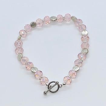 Pink Czech Bead and Silver Disc Bead Bracelet