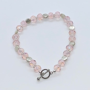 Pink Czech Bead and Silver Disc Bead Bracelet