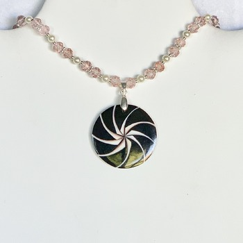 Pink Faceted Bead and Ivory Pearl Necklace with Black Jasper Shell Pendant