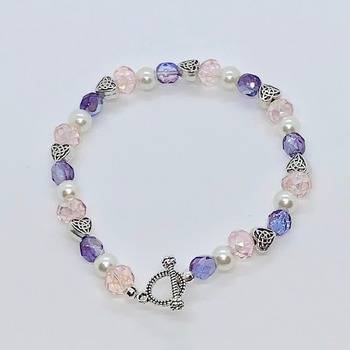 Pink Faceted Bead, Purple Czech Bead and White Pearl Bracelet