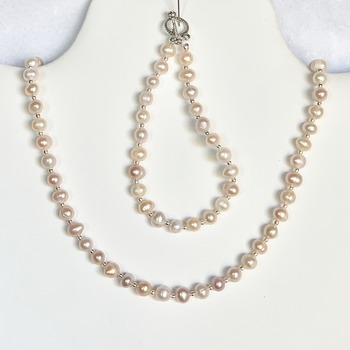 Pink Freshwater Pearl Necklace and Bracelet Set