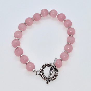 Pink Marbled Bead and Silver Bead Bracelet