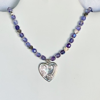 Purple Czech Bead with Silver Heart Pendant