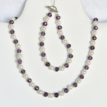 Purple Faceted Bead and Ivory Pearl Necklace and Bracelet Set