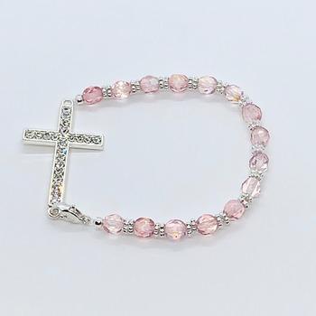 Raspberry Czech Bead and Silver Crystal Cross Bracelet