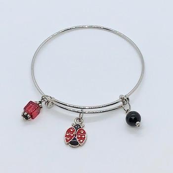 Red Bead, Black Bead and Silver Ladybug Charm Bangle Bracelet