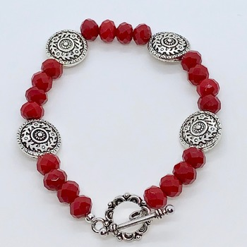 Red Faceted Bead and Antique Silver Scroll Bead Bracelet