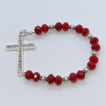 Red Faceted Bead and Silver Crystal Cross Bracelet