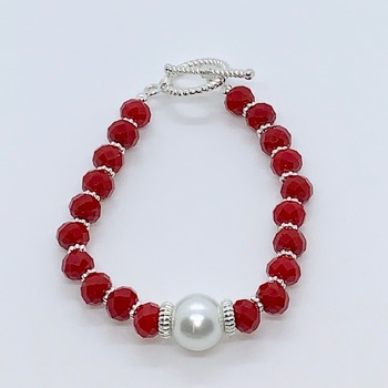 Red Faceted Bead and White Pearl Bracelet
