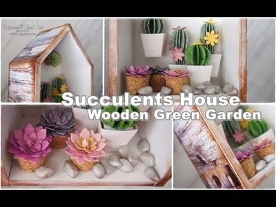 Shadow Box with Succulents Home Decor ♡ Maremi's Small Art ♡