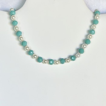 Teal Faceted Bead and White Pearl Necklace