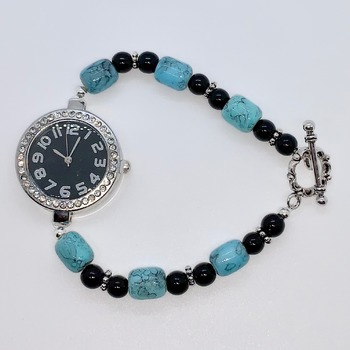 Turquoise Barrel Bead and Black Jasper Bead Watch